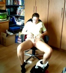 My wife waiting to playing in our office...i forgot to witch of our webcam....