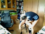 My wife & me playing in our office...i forgot to witch of our webcam...