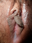 Cum soaked pussy lips!