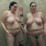 Recent pictures of Michele in the shower. 45 and still some firm tits.