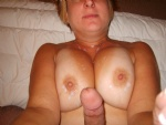 as I was cumming on her tits she was fingering her self until she cummed. A...