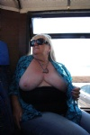 on a tour bus in the channel islands with my tits out again