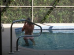 Hot Neighbor came over for a dip in our pool....
