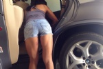 Cleaning car sexy